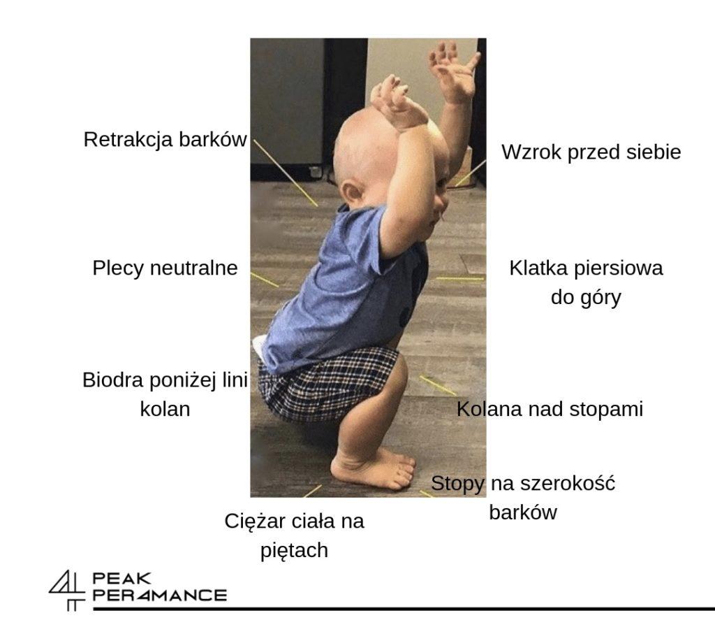 prawidłowa technika wykonania przysiadu przez dziecko